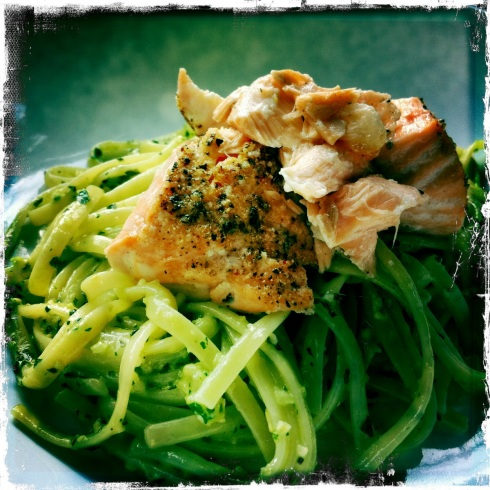 Pepper Crusted Salmon with Pesto Linguine