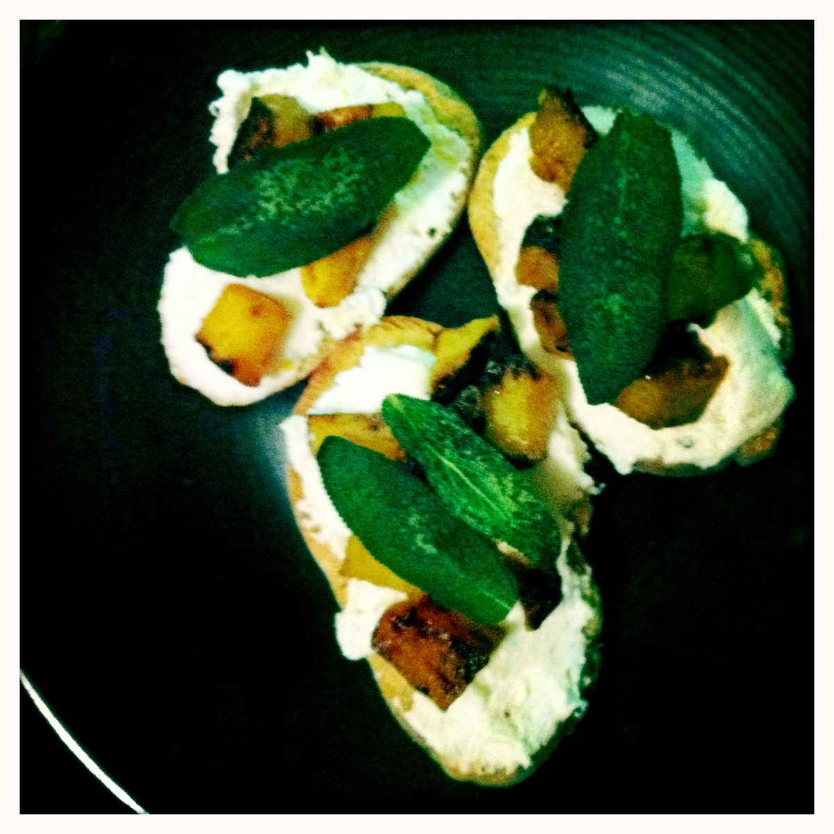 Butternut Squash, Ricotta, and Sage Crostini | Lindsey likes it.